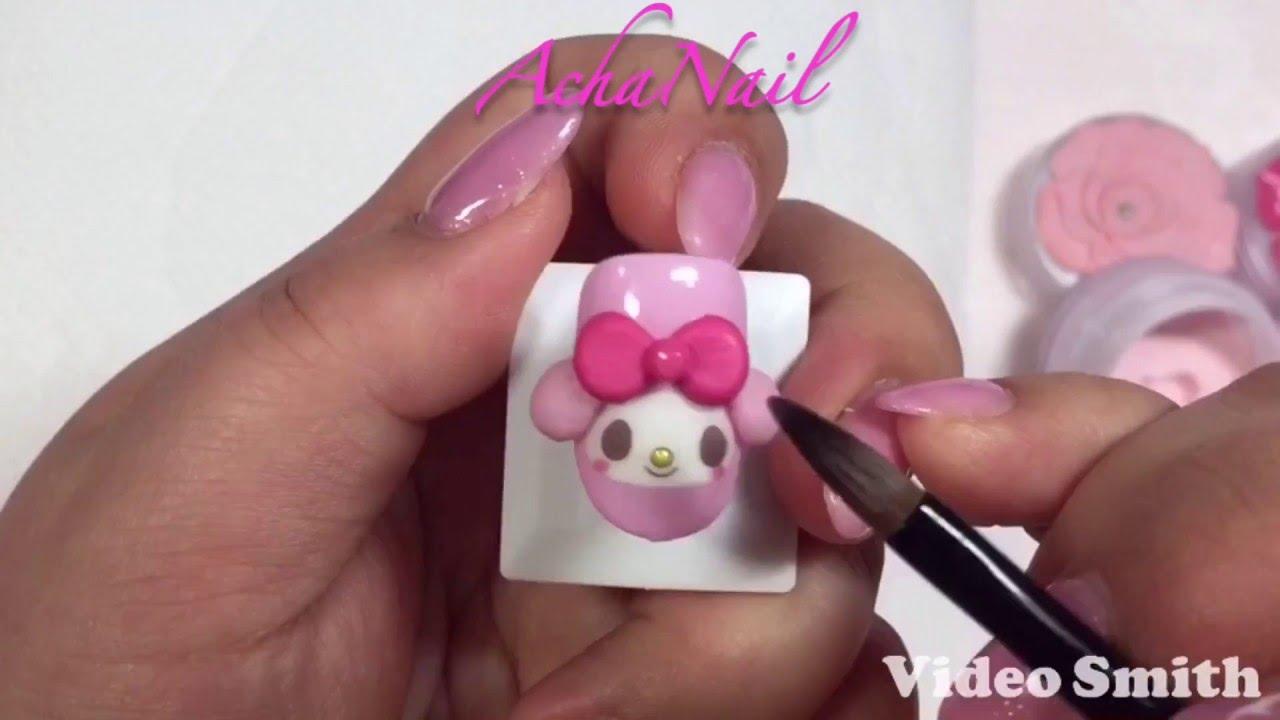 3Dキャラクターネイル ★ マイメロネイルの作り方 Mymelody Nail Tutorial.
