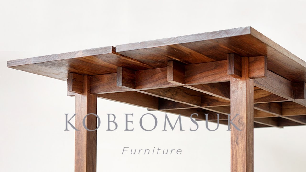 Kobeomsuk Furniture Making Interlocking Joinery Walnut Table Youtube