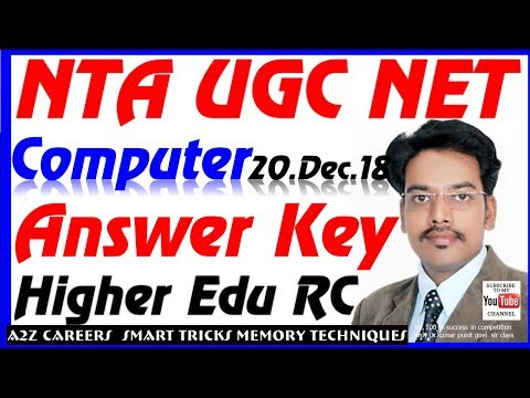 Higher Education Computer RC Research NTA UGC NET Answer Key 20 Dec 2018 Paper Ist