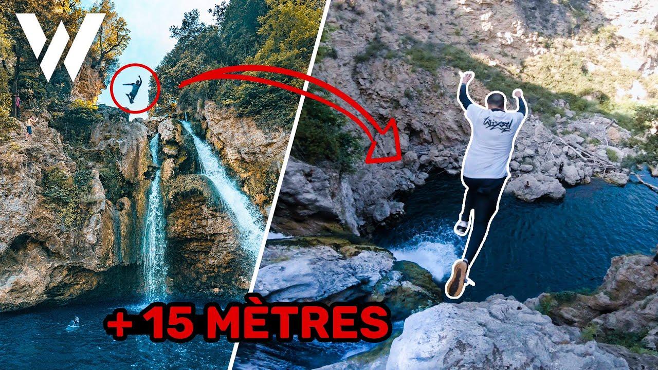 SAUT INTERDIT d'une CASCADE de 15 m - CLIFF DIVING (Wizzy trip Ep - 4)