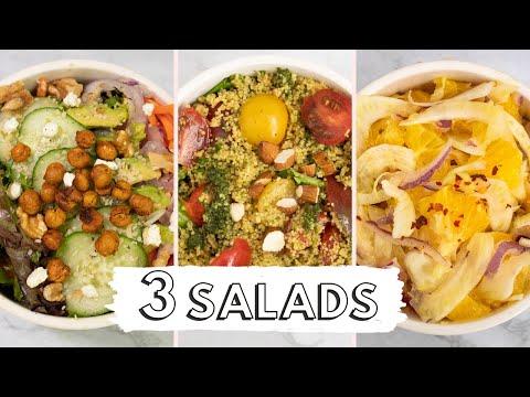 3 SALAD RECIPES: Mix Greens Salad, Cous Cous Salad, Sicilian Orange Salad| VEGETARIAN| Healthy meals
