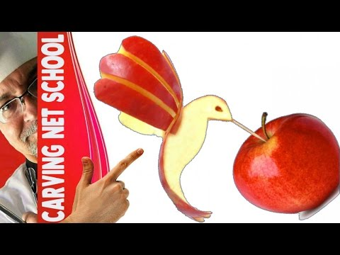 ART APPLE, arte em maçã, bird in apple, Escultura em frutas e legumes, การแกะสลักผลไม้, 水果雕