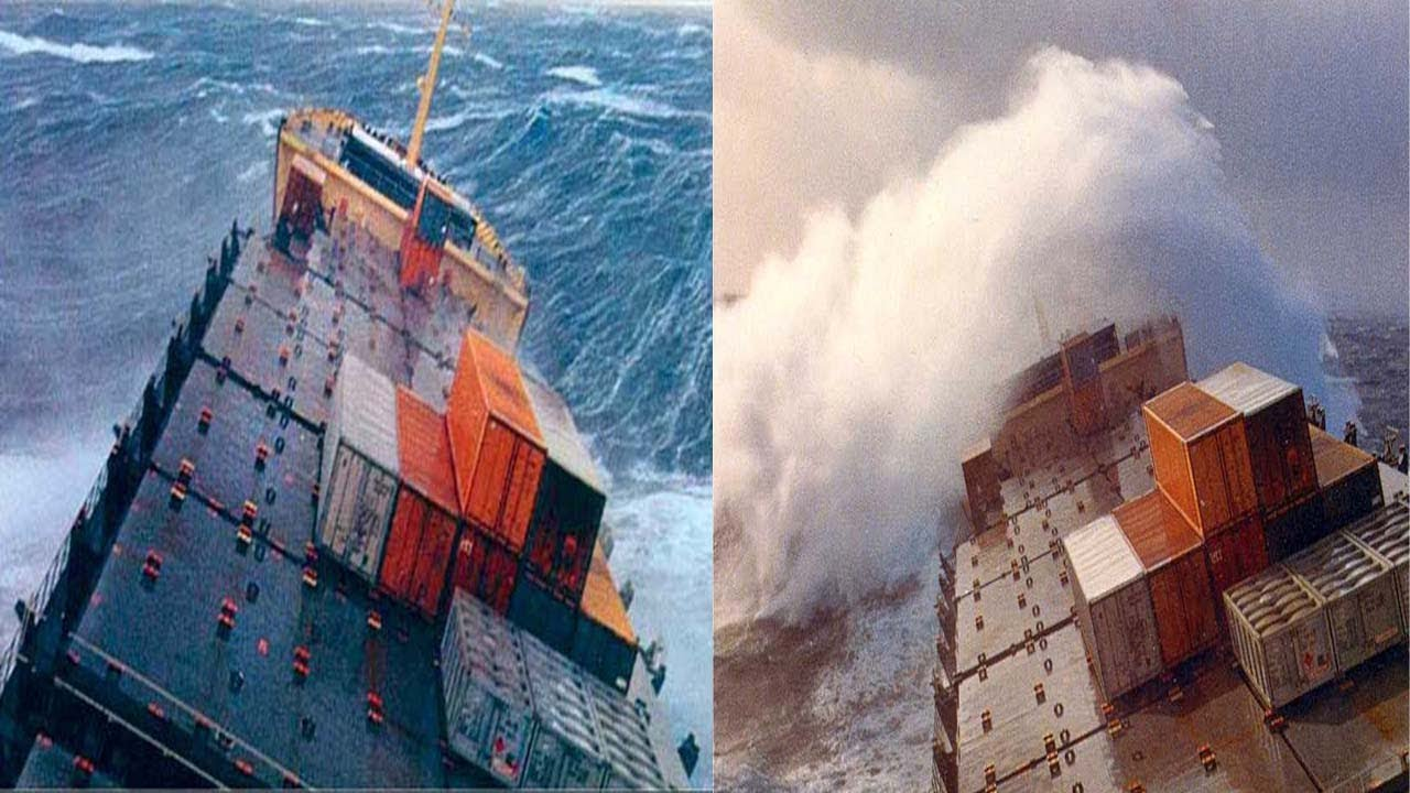Ship Cargo Fall Off On Bad Weather Youtube