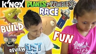 Plants Vs. Zombies K'nex Build Race: Walnut Bowling & Pirate Ship Build Fun W/ Lex & Mike