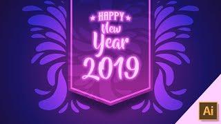 Happy New Year 2019 Wallpaper banner Poster vector Design Illustrator CC Tutorial