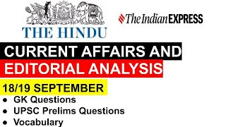 18 and 19th September Current Affairs and NewsPaper Analysis The Hindu|upsc|paper analysis