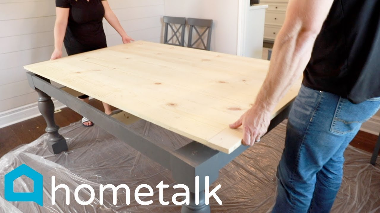 Diy Farmhouse Table Get A New Gorgeous Farmhouse Table Without Buying A New One Hometalk Youtube