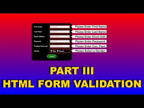 7. HTML FORM, How To Validate Html Forms, Form Validation In Html, Cyber Warriors,html Form Code,