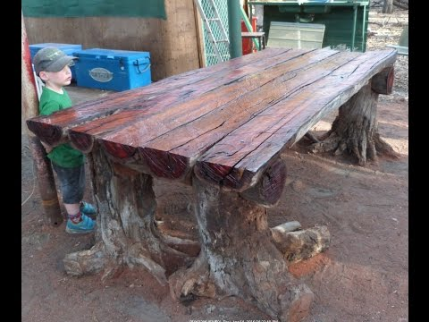 With a Chainsaw I Make a Rustic Log Furniture Table, using T