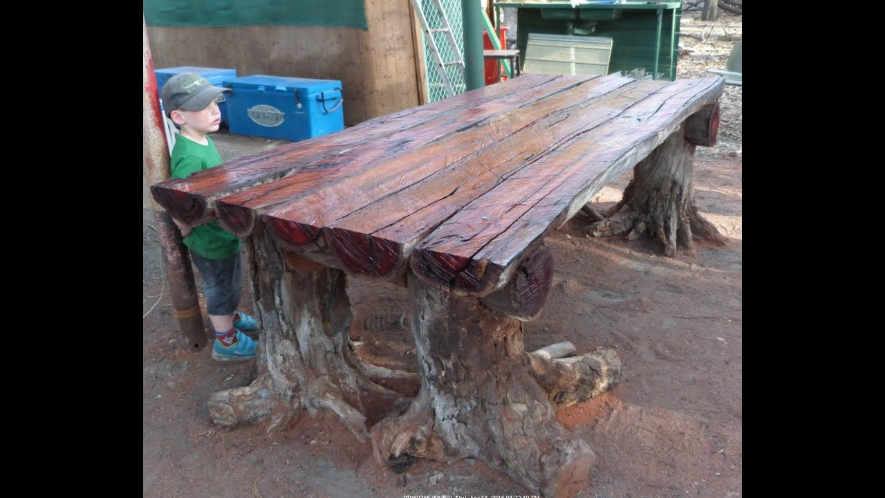 Good With A Chainsaw I Make A Rustic Log Furniture Table, Using Tree Stumps For  The Table Legs.   YouTube