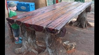 With a chainsaw I make a very rustic log furniture table, using tree stumps for the legs