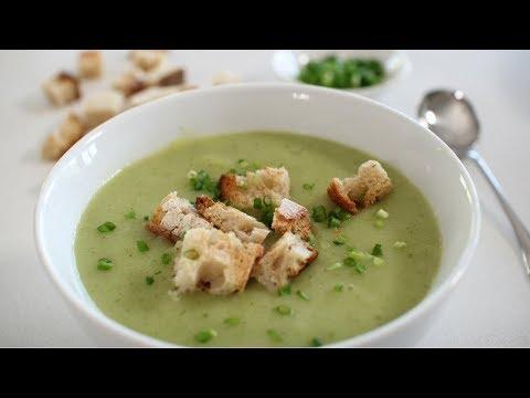 Zucchini, Cauliflower Soup with Sourdough Croutons