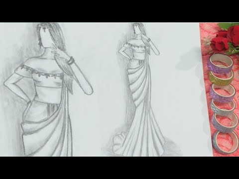 How To Draw A Girl Wearing Saree Indian Dress Drawing Saree Pattern Pencil Sketch Youtube