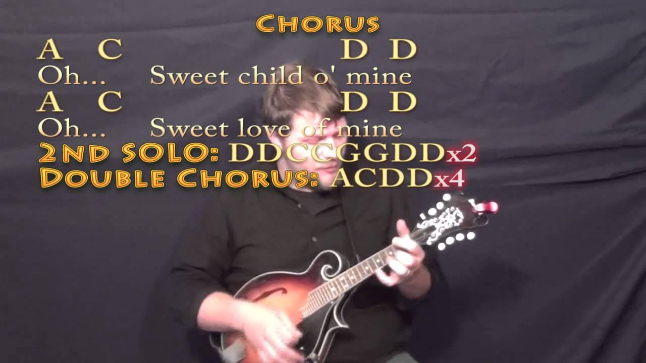 Sweet Child Of Mine Gnr Mandolin Cover Lesson With Chordslyrics