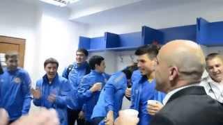 Раздевалка сборной Казахстана после выхода в стыковой раунд Чемпионата Европы