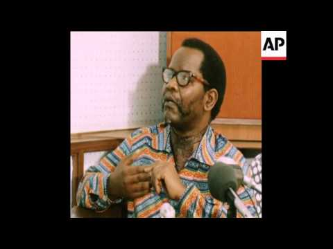 UPITN 2 7 79 OLIVER TAMBO SPEAKING AT A PRESS CONFERENCE IN LUSAKA