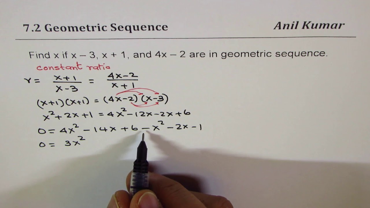 find x for the terms x 3 x 1 and 4x 2 in geometric sequence youtube find x for the terms x 3 x 1 and 4x 2 in geometric sequence