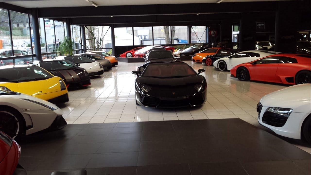 Lamborghini in a garage