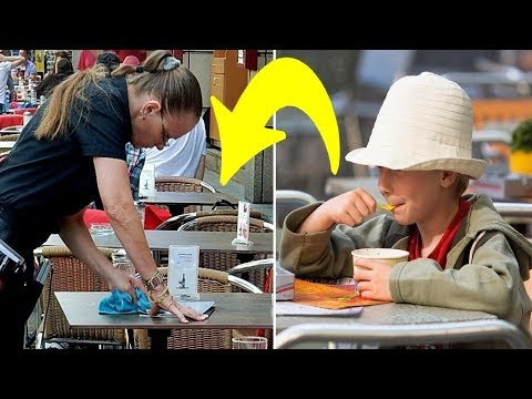 Armes Kind kauft sich Eis und Kellnerin ist sauer auf ihn.Als sie die Rechnung fand brach es ihr das