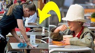 Armes Kind kauft sich Eis und Kellnerin ist sauer auf ihn.Als sie die Rechnung fand brach es ihr das thumbnail