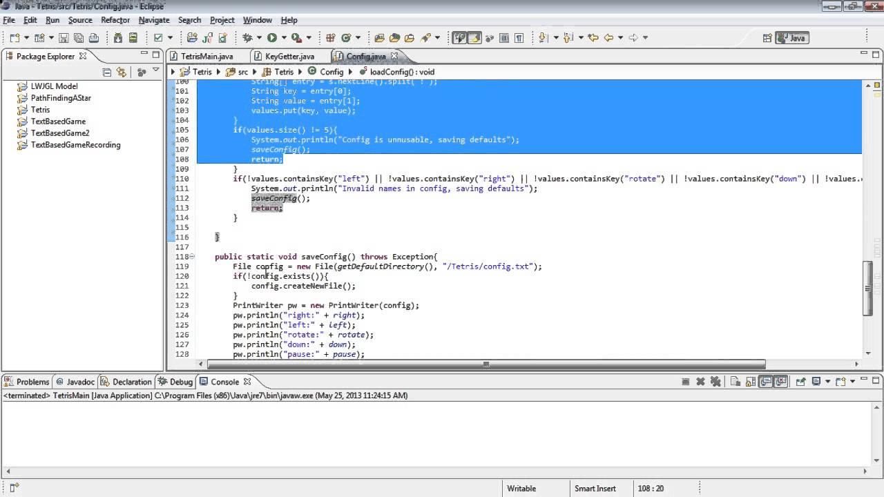 Java Tetris Tutorial 5 - Saving the Config