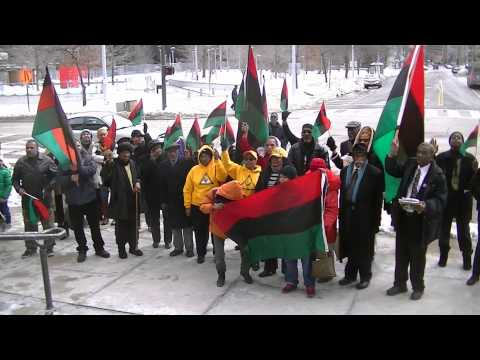 Raising the African-American flag at Cleveland City Hall