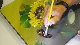 Aprenda a Pintar Girassol em Tela