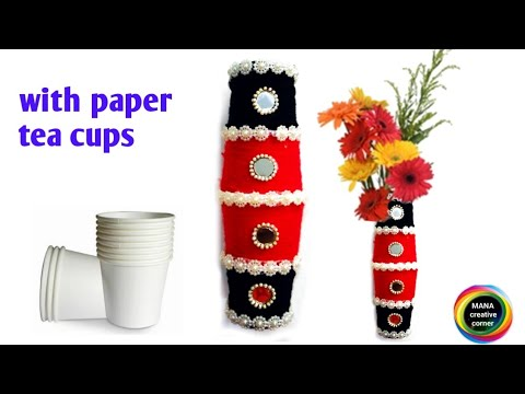 Diy/Flower pot out of disposable paper tea cups/disposable tea glass craft idea/best out of waste