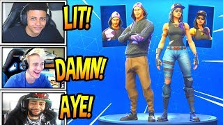 "STREAMERS REACT TO *NEW* ""FORTUNE"" &""MONIKER"" SKINS! *RARE* Fortnite FUNNY Moments"
