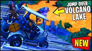 *NEW* FORTNITE VOLCANO LAKE - CAN YOU JUMP OVER THE VOLCANO