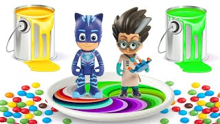 PJ Masks Toys Wrong Colors - Learn Colors with Watercolor Paint