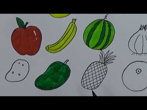 Cara Menggambar Dan Mewarnai Buah Buahan Menggunakan Pensil Dan Spidol Youtube