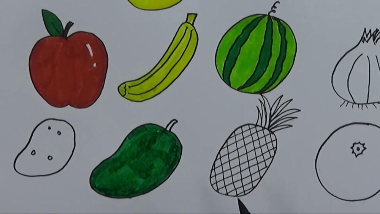 Cara Menggambar Dan Mewarnai BUAH BUAHAN Menggunakan Pensil Dan Spidol