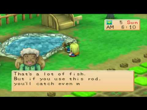 Harvest Moon Back to Nature Girl - Getting fishing pole