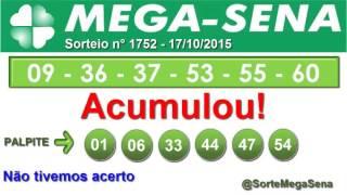 RESULTADO MEGA SENA - 1752 - 17/10/2015 - sábado - SorteMegaSena