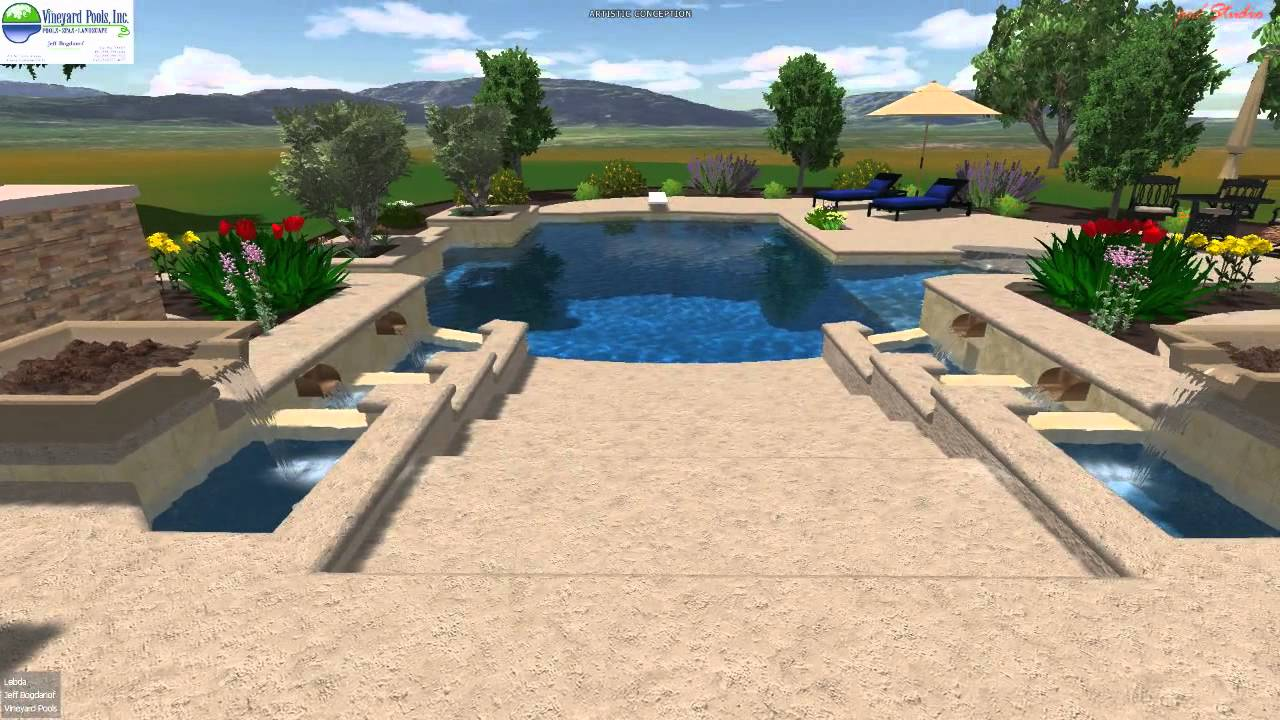 Vineyard Pools 3D design - Hillside beach entry pool with falling ...
