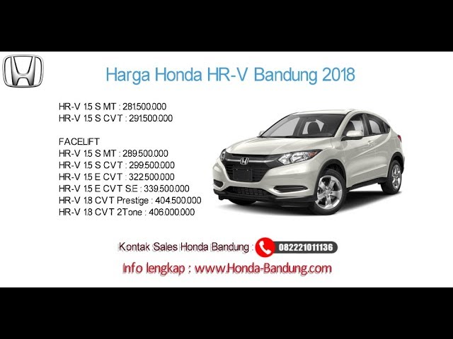 Harga Honda HR-V 2018 Bandung dan Jawa Barat | Info: 082221011136