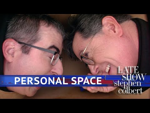 John Oliver Gets Into Stephen's Personal Space