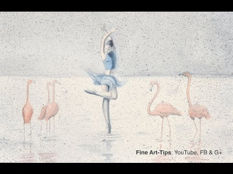 How to Paint a Ballerina With Flamingos in Watercolor - Surreal