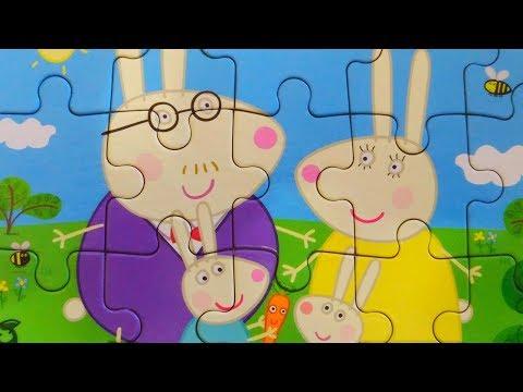 Семейка Кроликов из Свинки Пеппы. Собираем пазлы для детей | Merry Nika