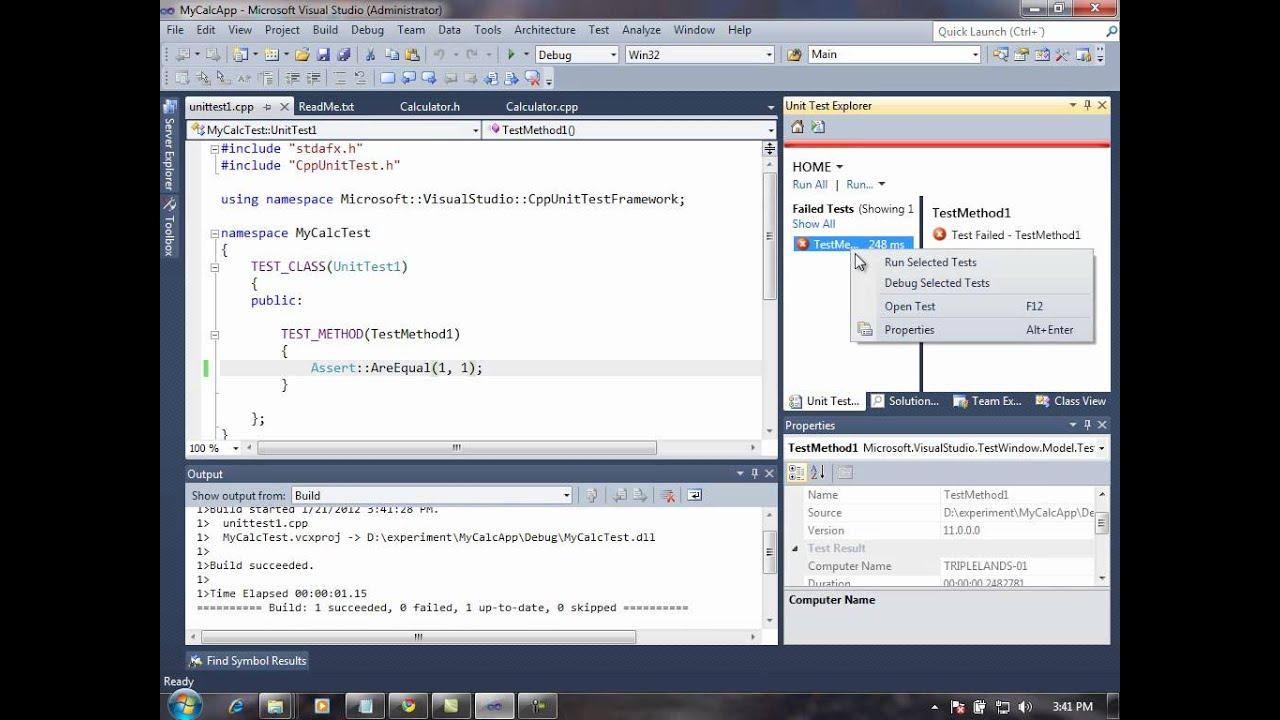 Visual Studio C++ 2011 Preview - Unit Test 2