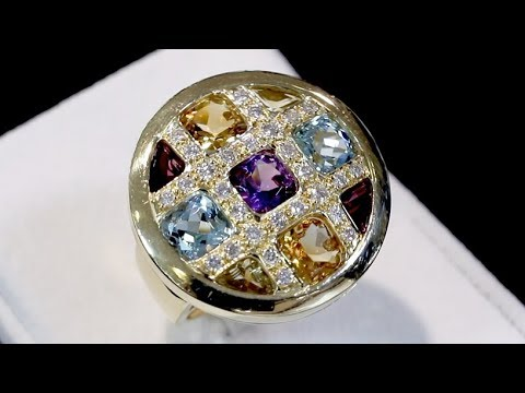 0.56 ct Diamond and Amethyst, Citrine, Topaz and Garnet Ring - Vintage 1980s - A8331