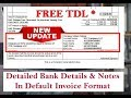 Detailed Bank Details & Extra Notes In Default Invoice Format in Tally ERP.9