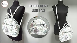 Buki   3 Different Use Bags (Backpack, Clutch Bag, Crossbody Bag)   How to Sew Easy Bag?