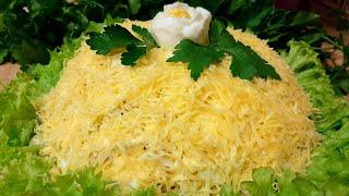 Салат с Курицей и грибами слоеный. Салат Очень Простой и Вкусный с Курицей и грибами