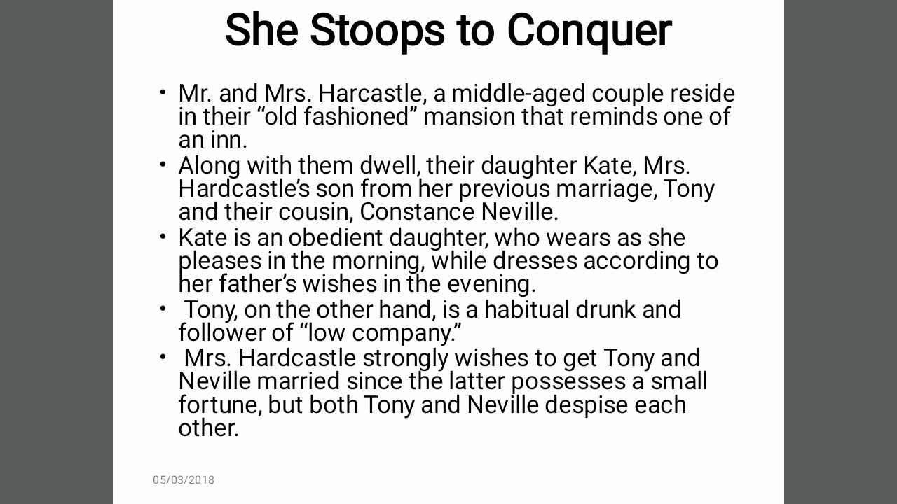 summary she stoops to conquer
