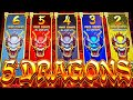 GOING FOR MOST VOLATILE FEATURE! 😅 NEW 5 DRAGONS RISING JACKPOTS Slot Machine (Aristocrat Gaming)