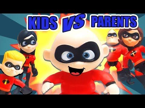 Incredibles 2 Kids Vs Parents Challenge ! Featuring LOL Dolls, Dash, Violet, and baby Jack Jack!