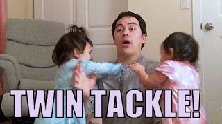 Twins Tackle Dad! - January 10, 2016 -  ItsJudysLife Vlogs