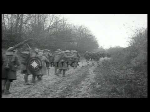 US Army 28th Infantry occupy Chevenges, France during World War I. HD Stock Footage